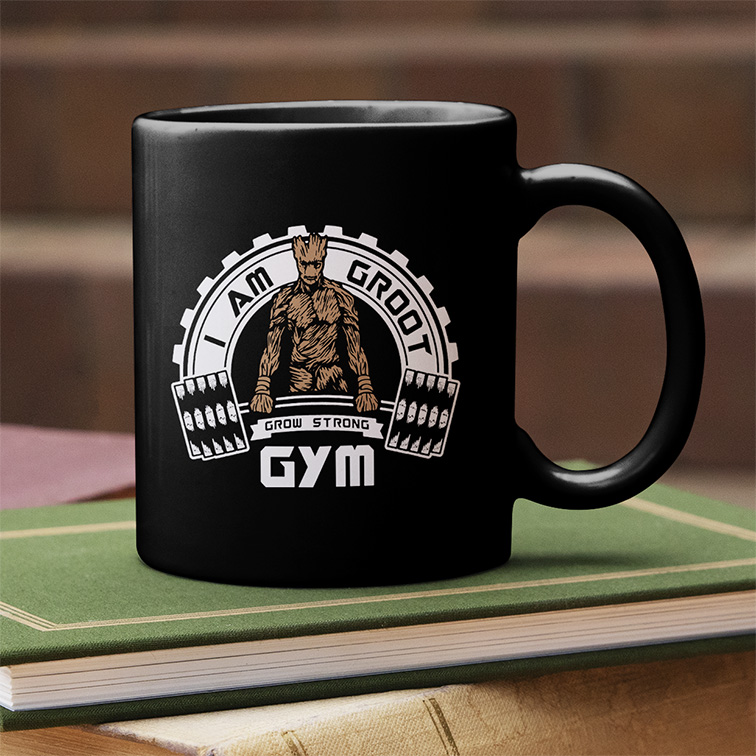 Caneca I Am Groot GYM Grow Strong (Preta) - EV