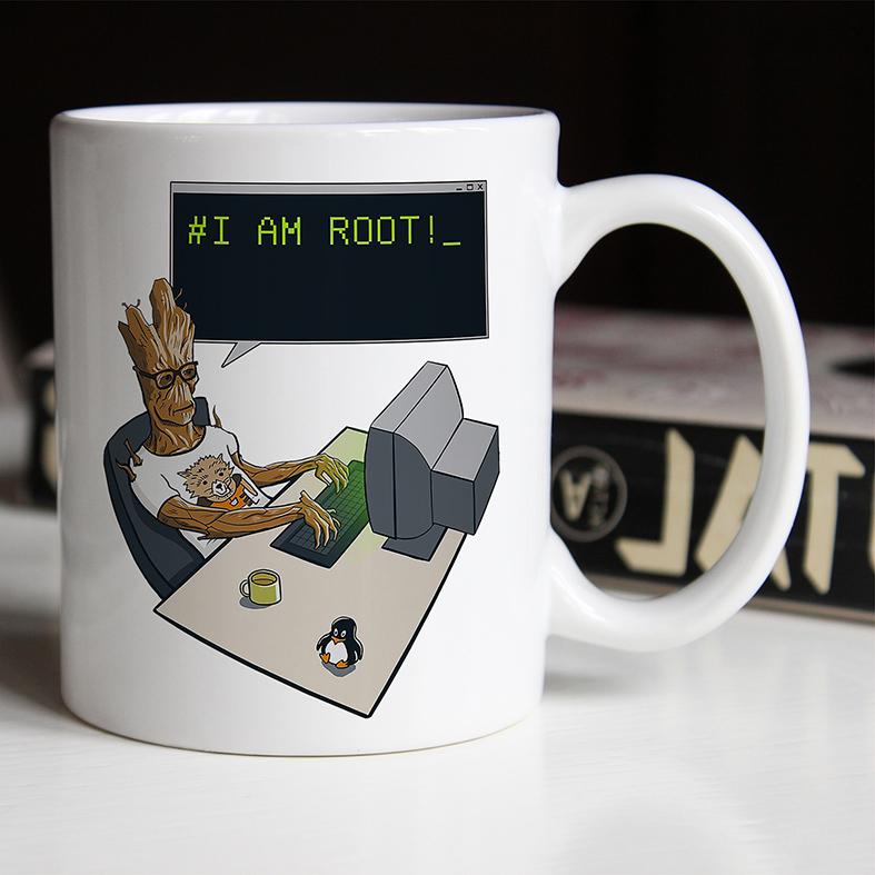 Caneca # I Am Root Groot Guardiões Da Galáxia Dev Desenvolvedor Programador Marvel (Branca) - EV