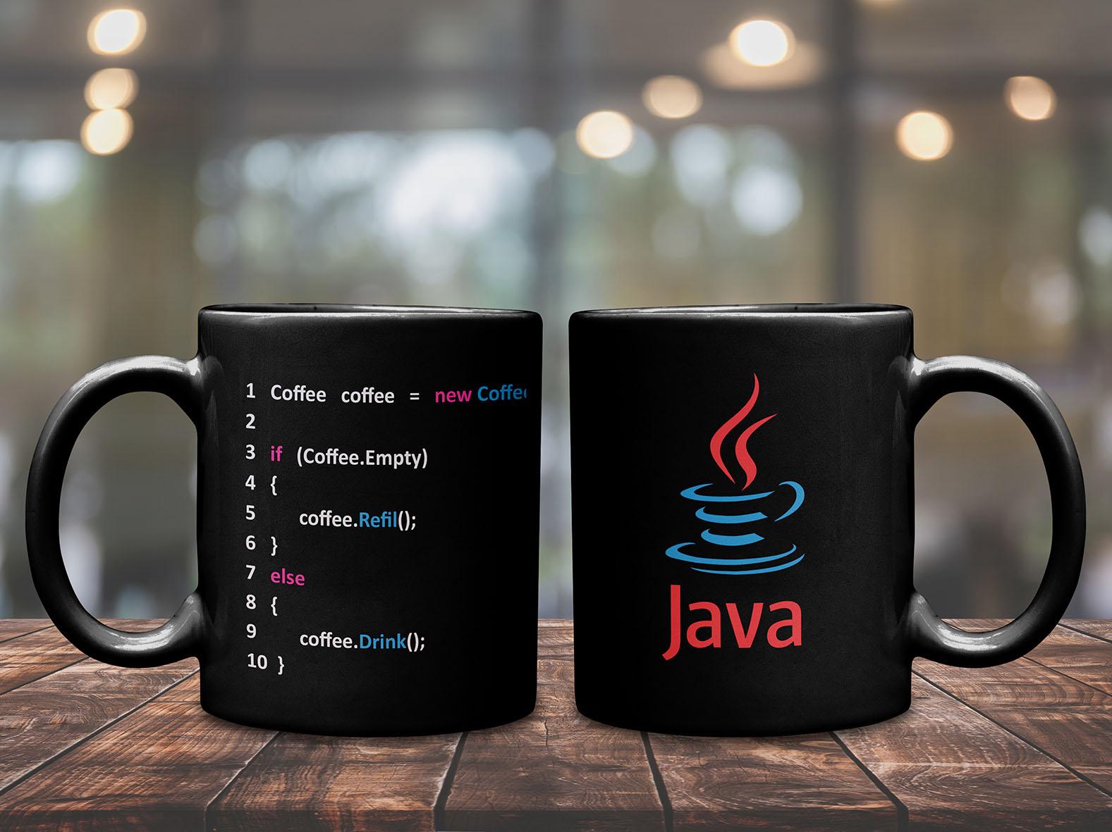 Caneca If Coffee Dev Café Programação Programador Desenvolvedor Codificador Java (Preta) - EV
