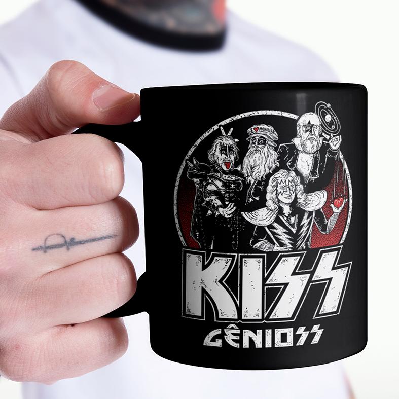 Caneca Kiss Gênioss Humor Ilustração Hard Rock Gênios (Preta) - EV