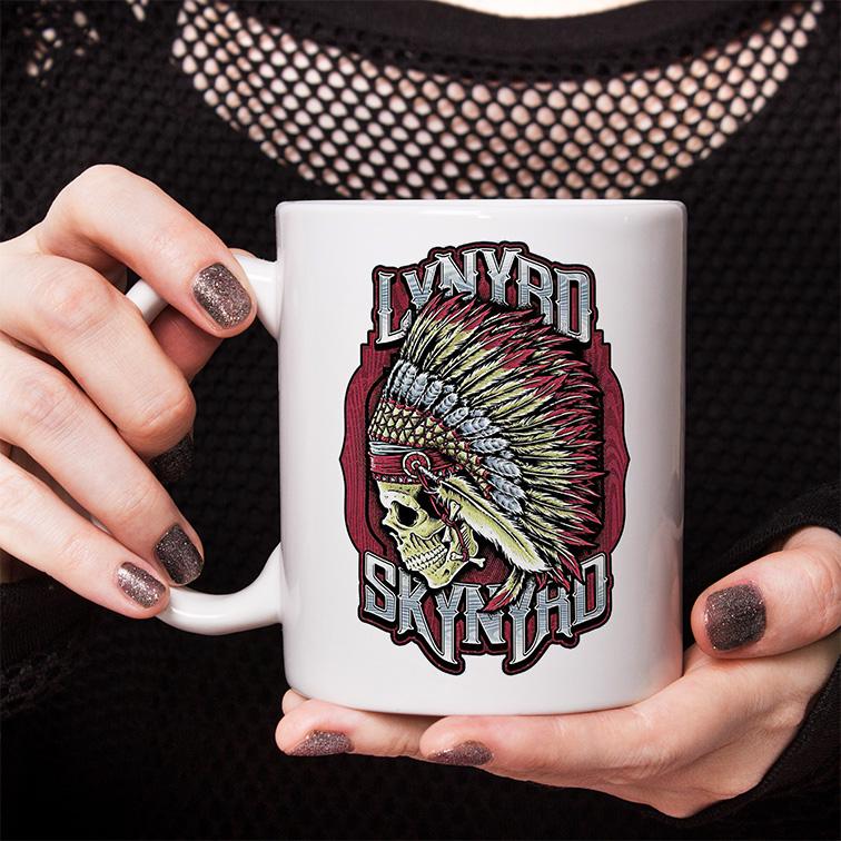 Caneca Lynyrd Skynyrd American Rock Band Skull (Branca) - EV