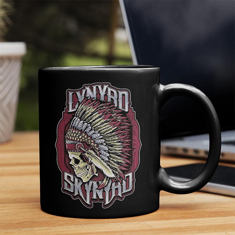 Caneca Lynyrd Skynyrd American Rock Band Skull (Preta) - EV