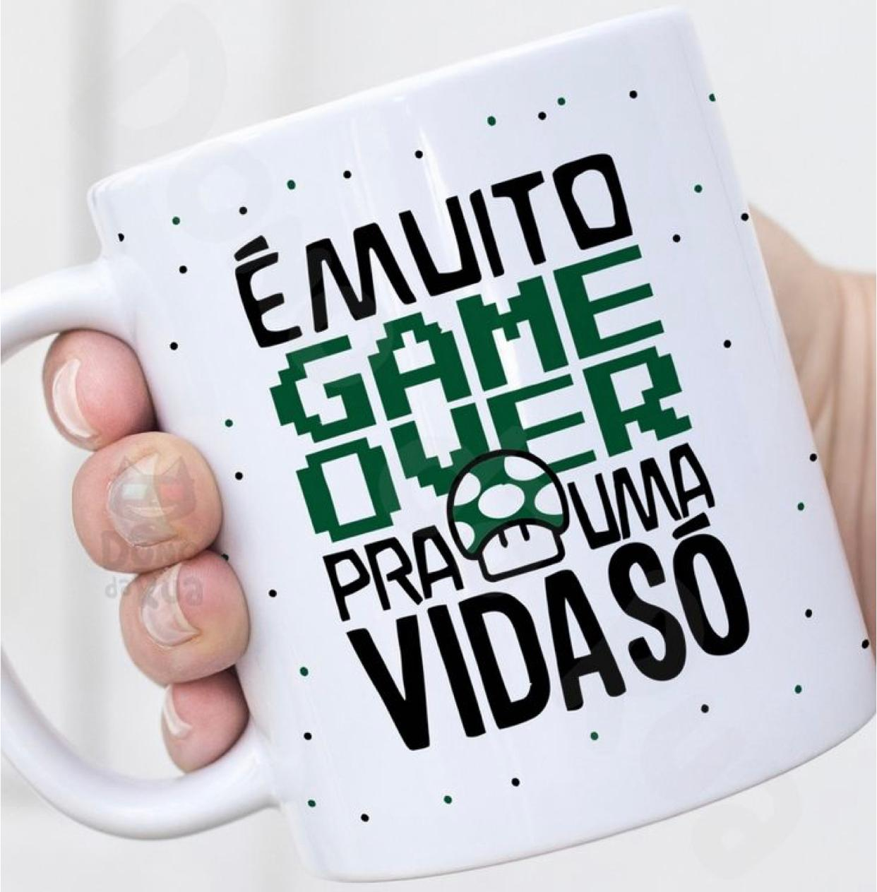 """Caneca Mario: """"É Muito Gamer Over Pra Uma vida Só"""""""