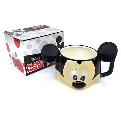 Caneca Mickey Mouse Com Colher Porcelana: Mickey e Minnie Mouse - Disney