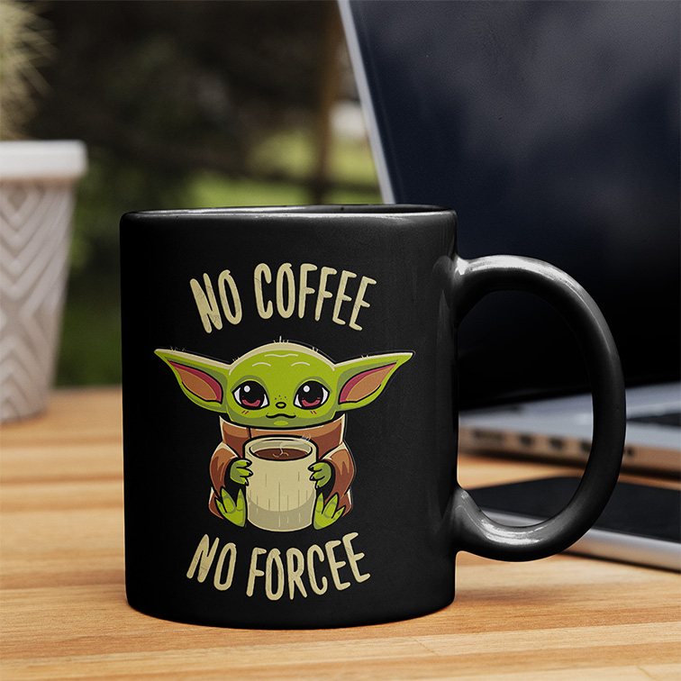 Caneca No Coffee No Force Baby Yoda: Star Wars (Preta) - EV