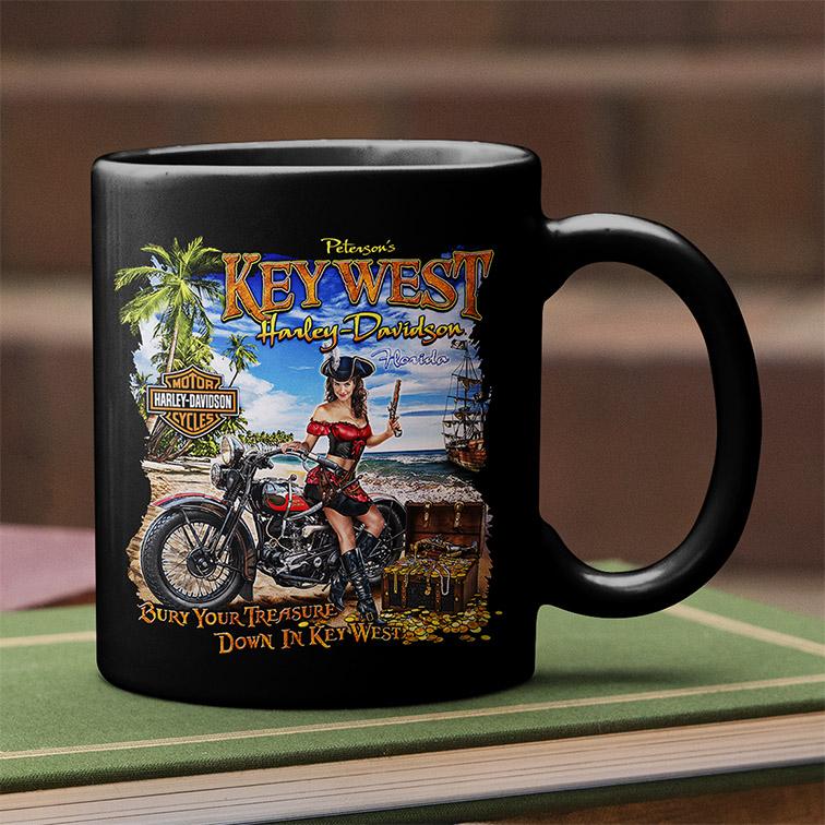 Caneca Peterson's Key West Florida Harley Davidson Cycles (Preta) - EV