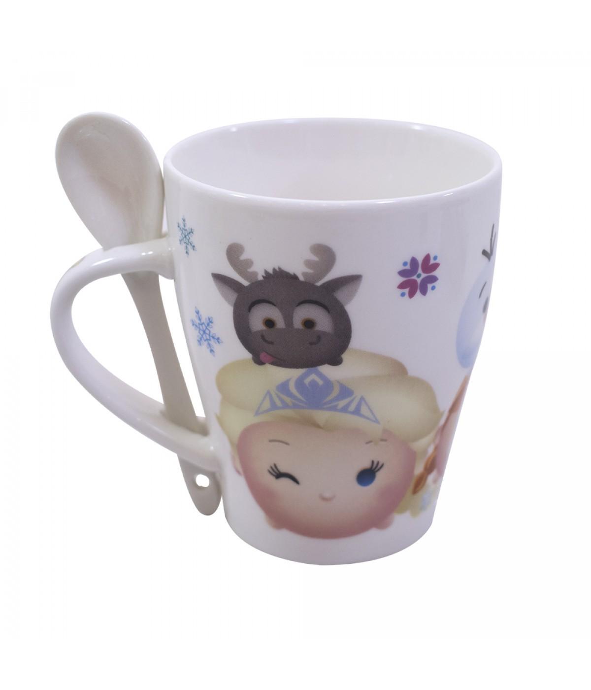 Caneca Porcelana (Com Colher) Tsum Tsum (Anna, Elsa e Olaf): Frozen - 310ml