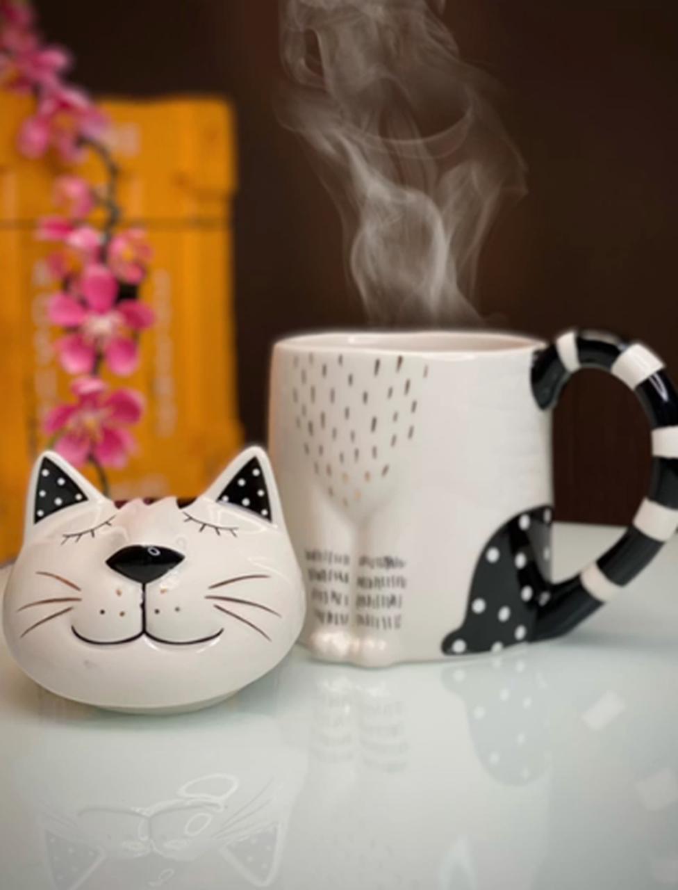 Caneca Pote Com Tampa Potiche Pet Gato