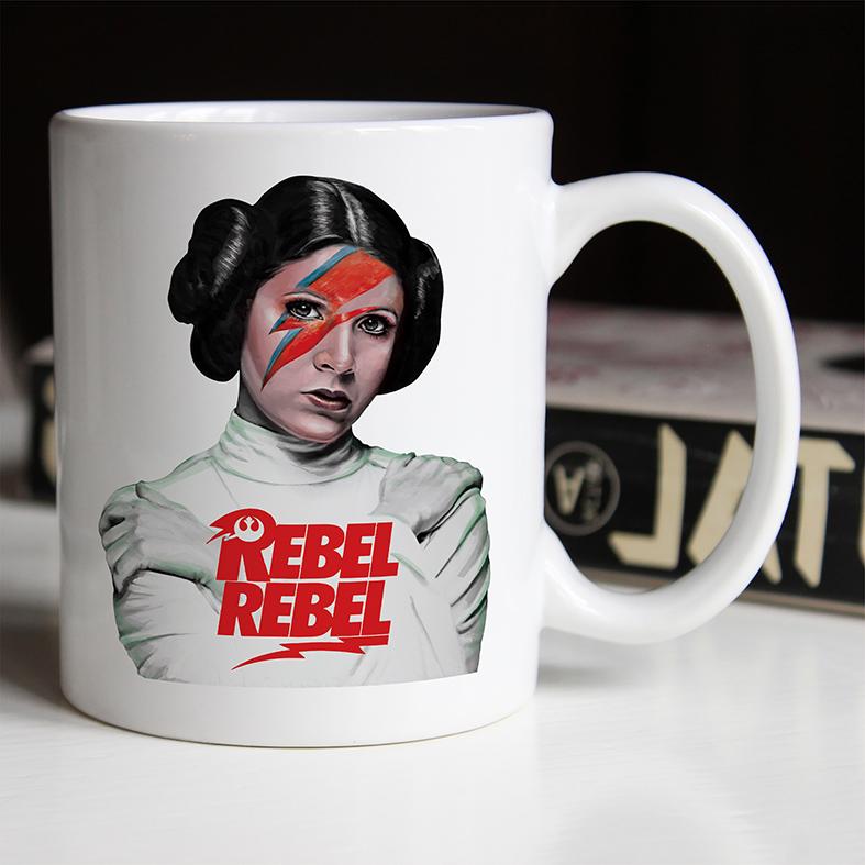 Caneca Princesa General Leia Bowie Organa Princess Rebel Rebelde David Bowie: Star Wars (Branca) - EV