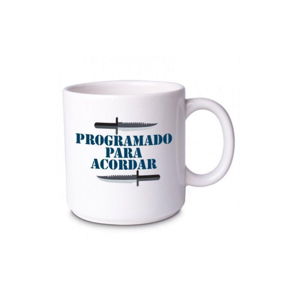 Caneca Rambo Programado Para Acordar Branca - Vdesign