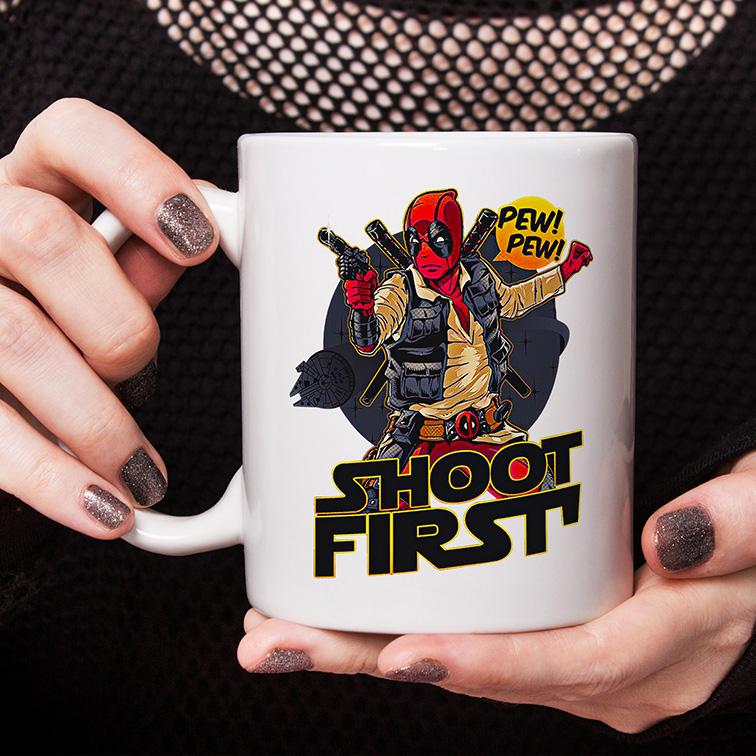 Caneca Shoot First Pew Pew: Deadpool Marvel (Branca) - EV