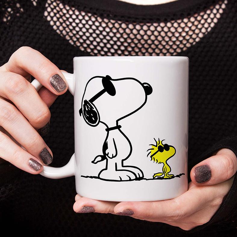 Caneca Snoopy E Woodstock Óculos Escuros Pássaro Cachorro Bird Charlie Brown (Branca) - EV