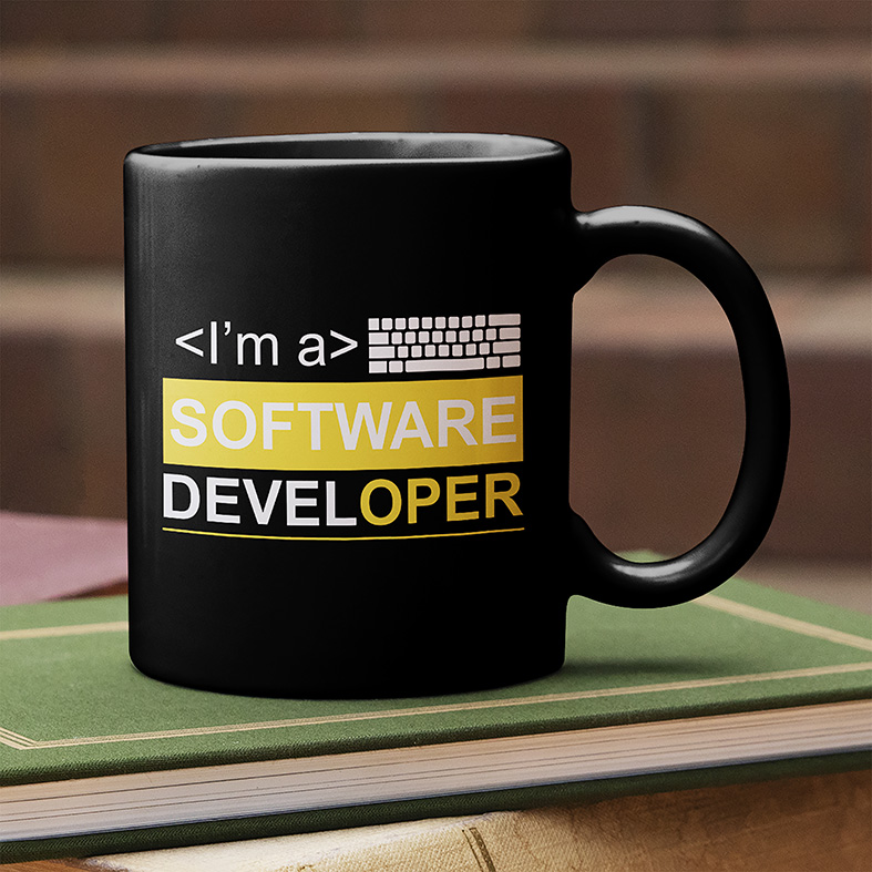 Caneca Sou Um Desenvolvedor De Software I'm A Software Developer Dev (Preta)