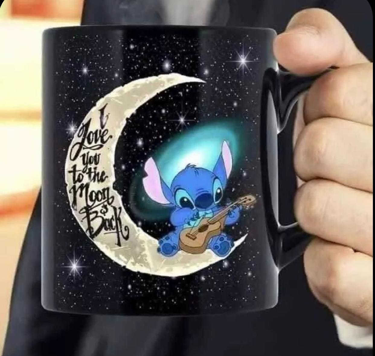 """Caneca Stitch: """"I Love You To The Moons Back"""" - EV"""