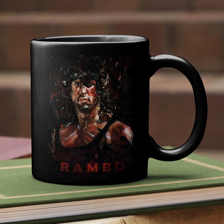 Caneca Sylvester Stallone: Rambo (Preta) - EV