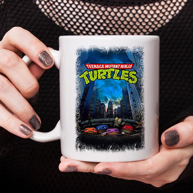Caneca Teenage Mutant Ninja Turtles Movie Poster 1989: As Tartarugas Ninjas (Branca) - EV