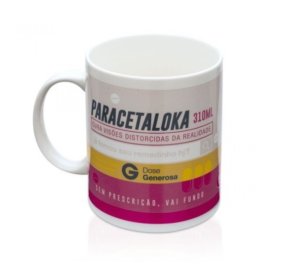 Caneca Termossensível Remédio Rosa (Paracetaloka) 310ml