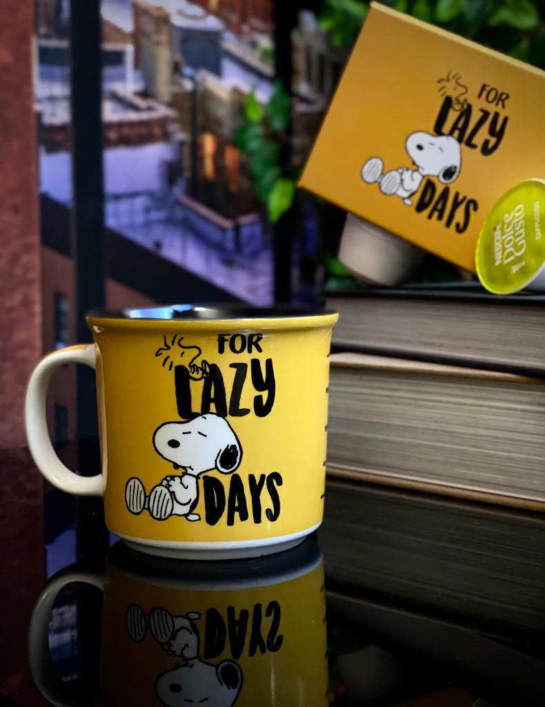 Caneca Tom Snoopy e Woodstock For Lazy Days - Peanuts (350ml)