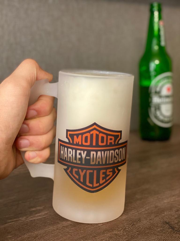 Caneca Vidro Chopp Harley Davidson Laranja 500ml - EV