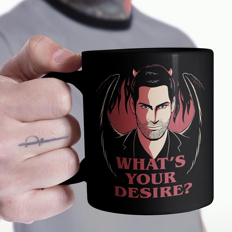 Caneca Whats's Your Desire The Devil Lucifer Morningstar Qual É O Seu Desejo Netflix (Preta) - EV