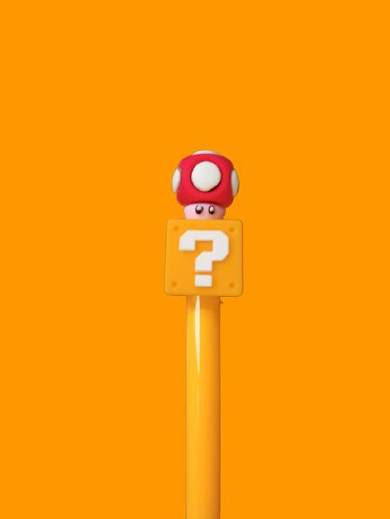 Caneta Gel: ''Cogumelo'' Super Mario Bros - Amarela (Tinta Preta)