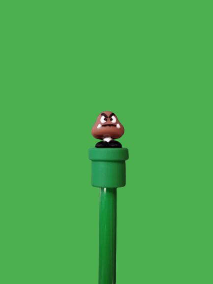 Caneta Gel: ''Goomba'' Super Mario Bros - Verde (Tinta Preta)