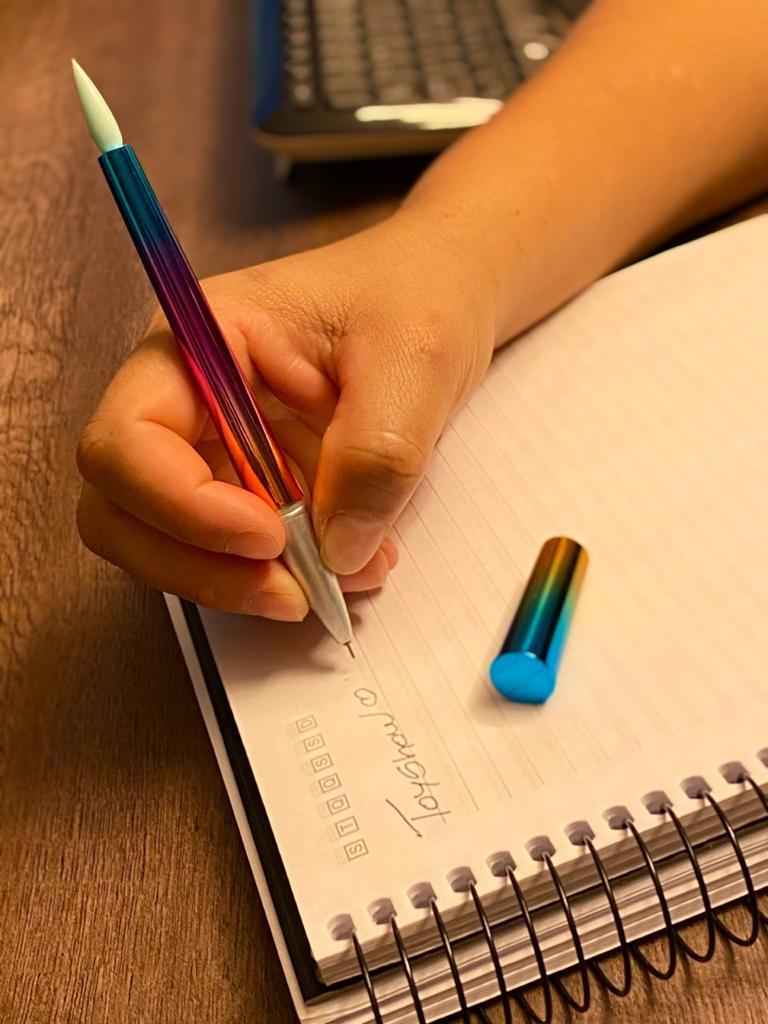 Caneta Gel: ''Pincel'' Azul e Laranja (Tinta Preta)