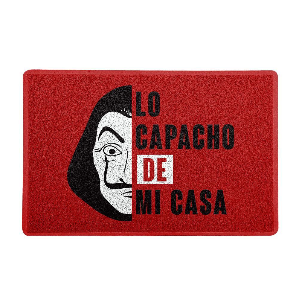 """Capacho """"Lo Capacho De Mi Casa"""": La Casa de Papel (Fundo Vermelho)"""
