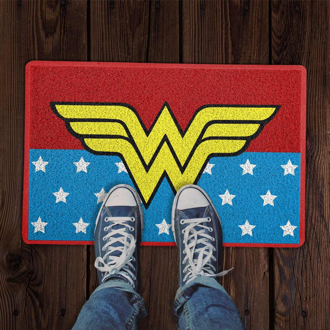 Capacho Logo Mulher-Maravilha (Wonder Woman): DC Comics (Vermelho e Azul)