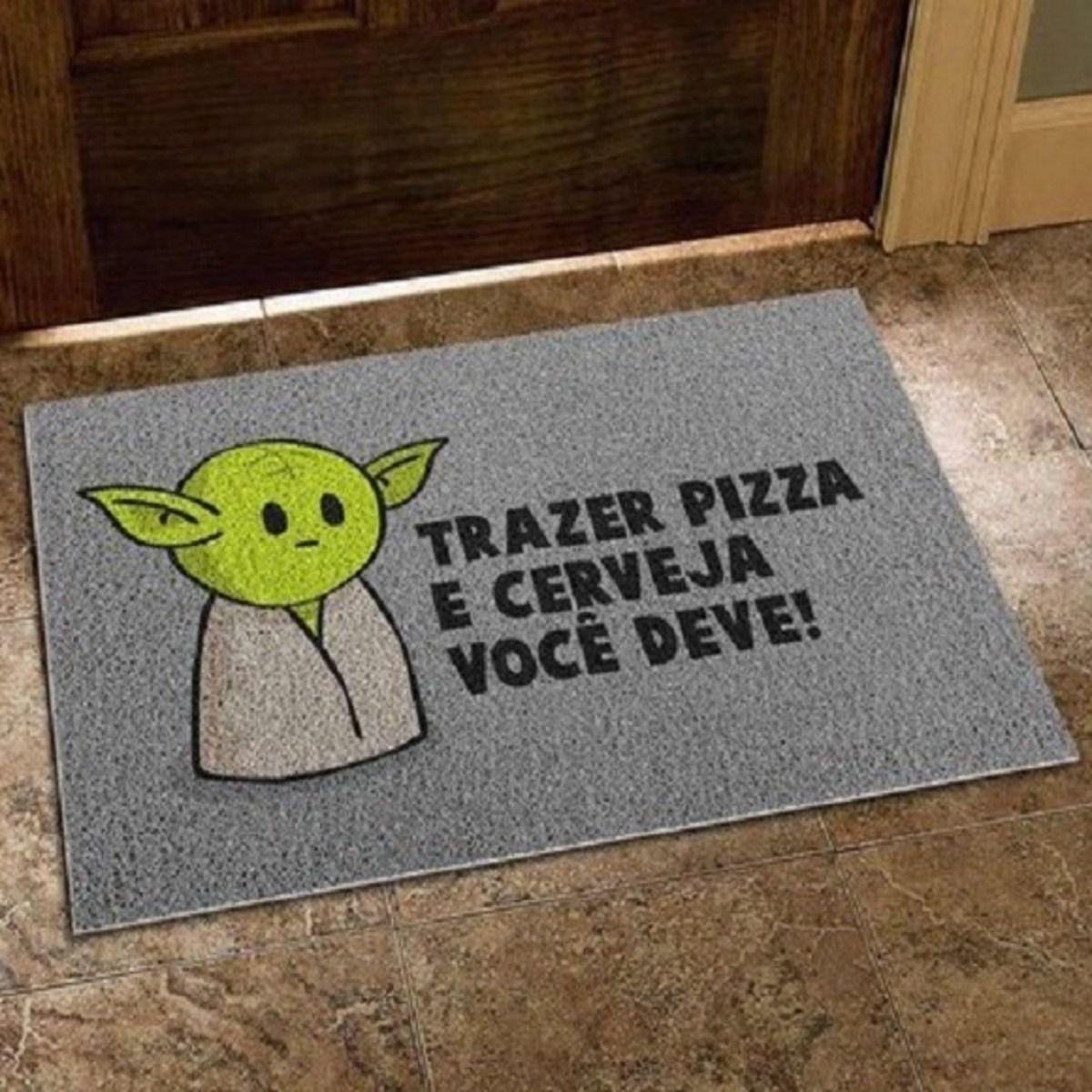 "Capacho Logo Yoda "" Trazer Pizza E Cerveja Você Deve!"": Star Wars"