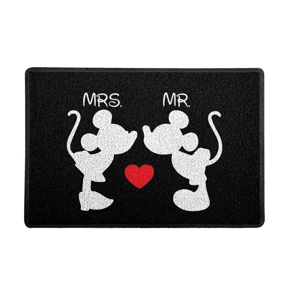 """Capacho """"Mrs. e Mr."""" Mickey e Minnie (Preto) : Disney"""