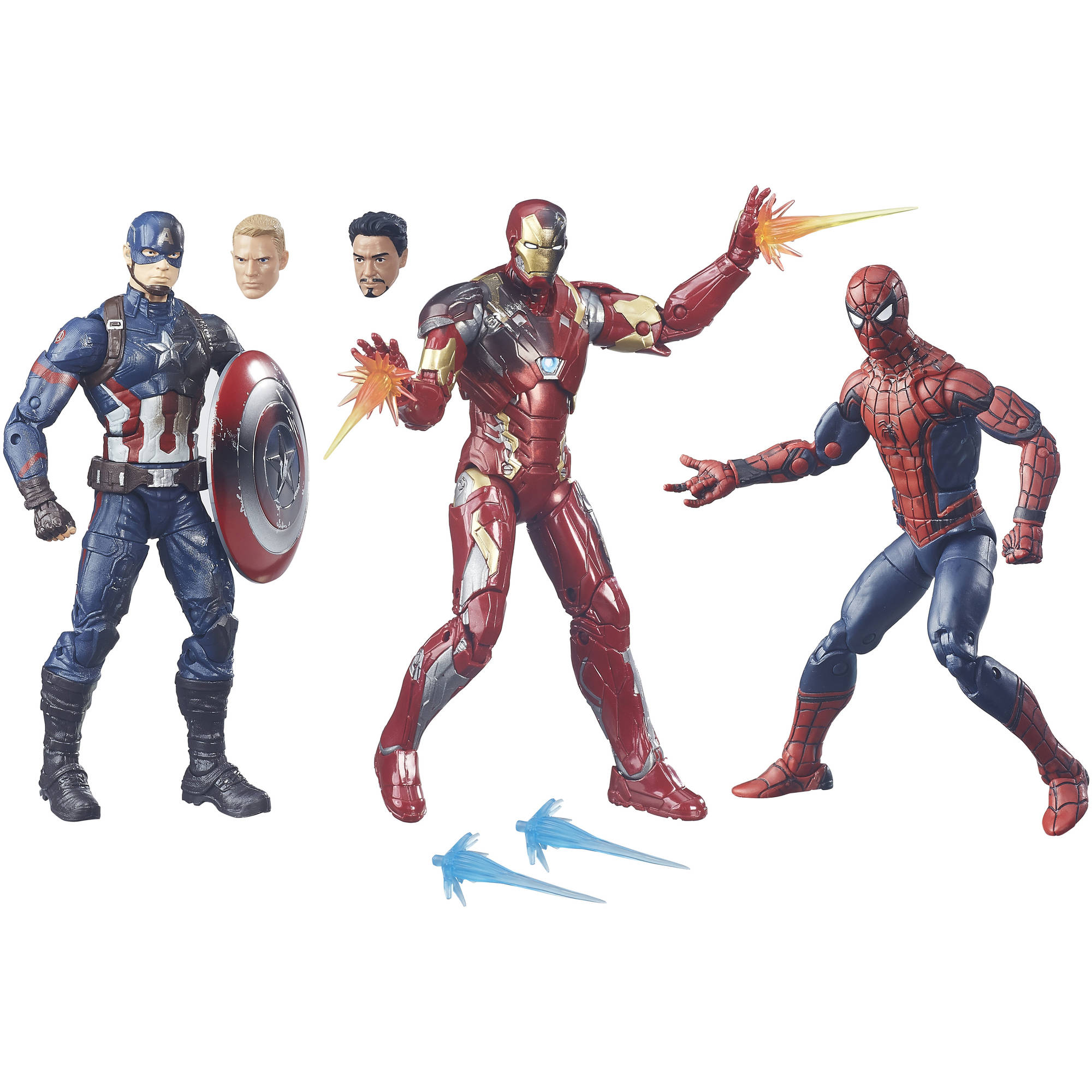 Capitain America Civil War Pack com 03 Homem-Aranha, Capitão América e Homem de Ferro- Marvel Legends