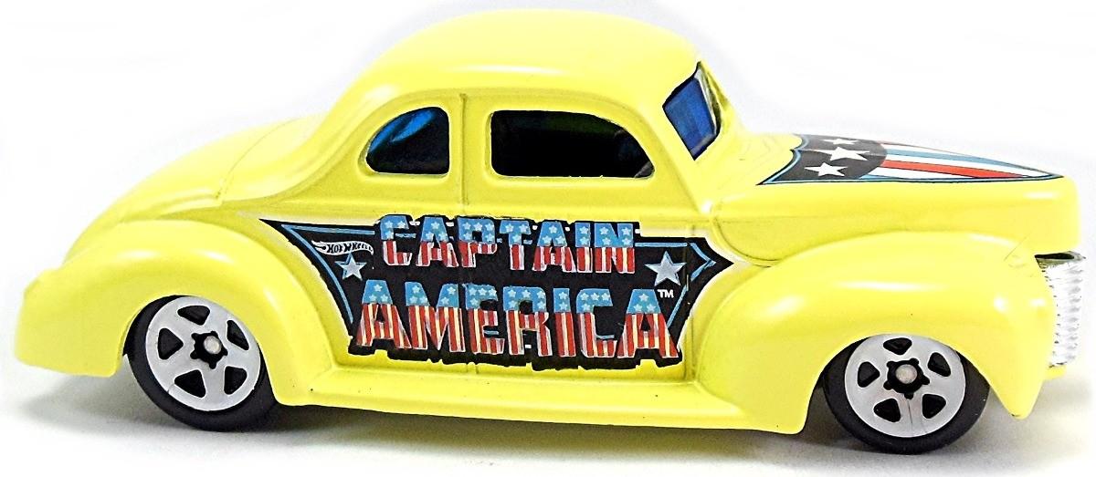 Carrinho Hot Wheels: '40 Ford Coupe: Capitão América Amarelo