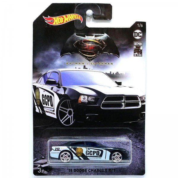 Carrinho Hot Wheels Dodge Charger ´11 R/T Gothan City Police Departament: Batman Vs Superman (FYX88) - Mattel