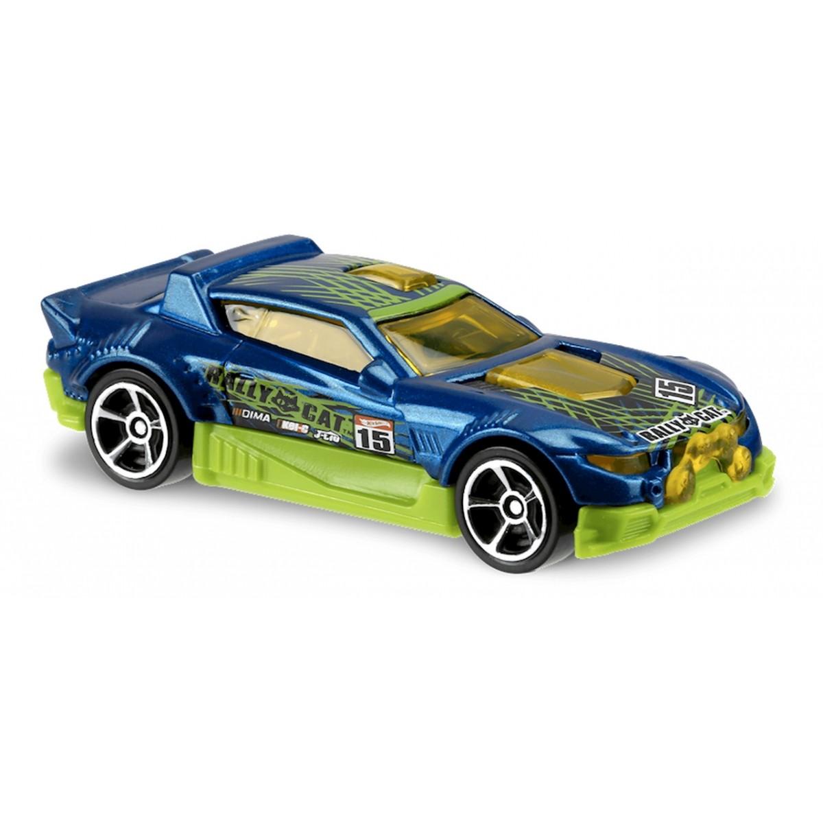 Carrinho Hot Wheels: Rally Cat Azul e Verde