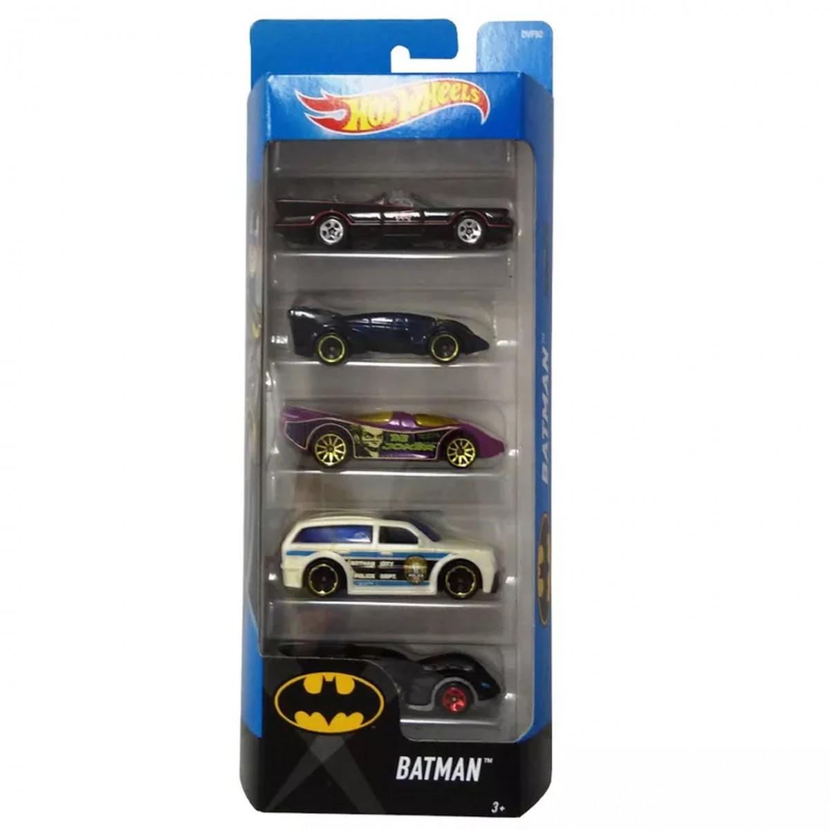 Carrinho Hot Wheels (Set com 5 Carros) Batman: DC Comics