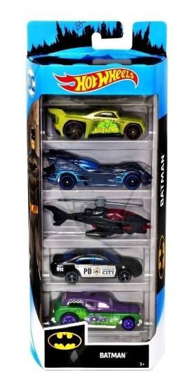 Carrinho Hot Wheels (Set com 5 Carros) Batman - Mattel