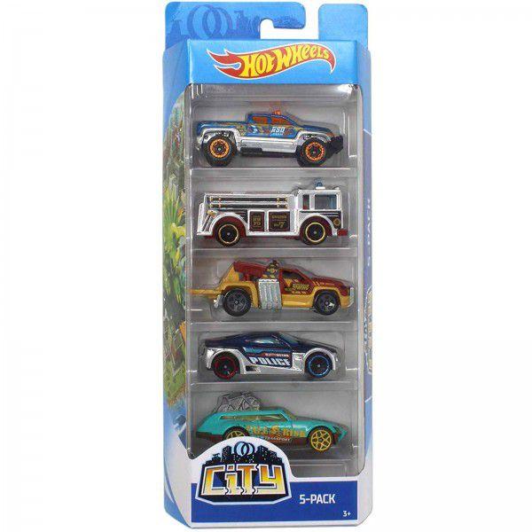 Carrinho Hot Wheels (Set com 5 Carros) City (FYL24) - Mattel