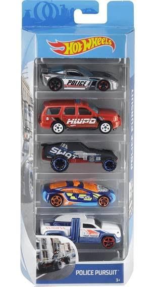 Carrinho Hot Wheels (Set com 5 Carros) Police Persuit - Mattel