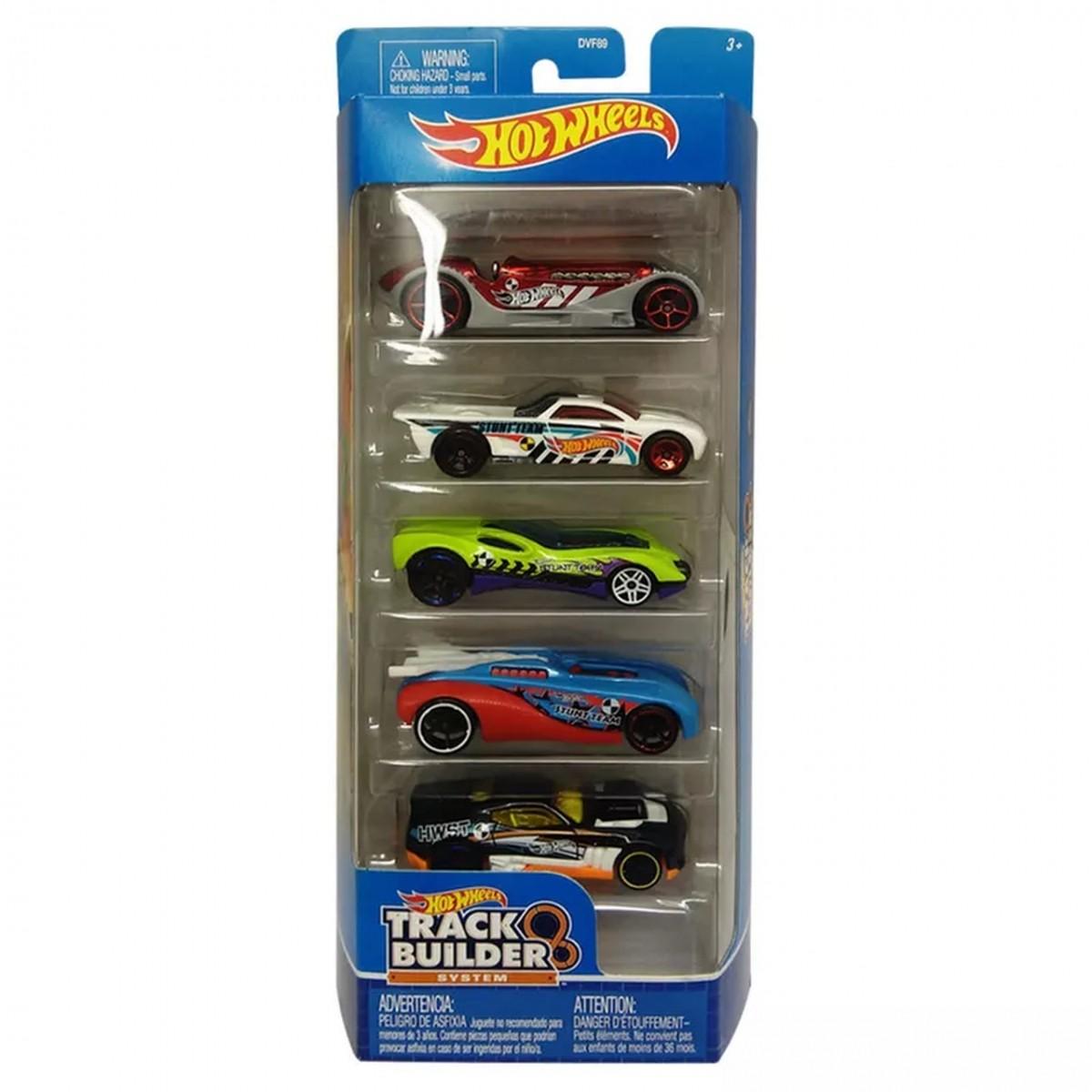 Carrinho Hot Wheels (Set com 5 Carros) Track Builder System (A)