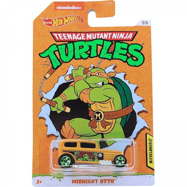 Carrinho Michelangelo (Midnight Otto): Tartarugas Ninja (Teenage Mutant Ninja Turtles) - Hot Wheels