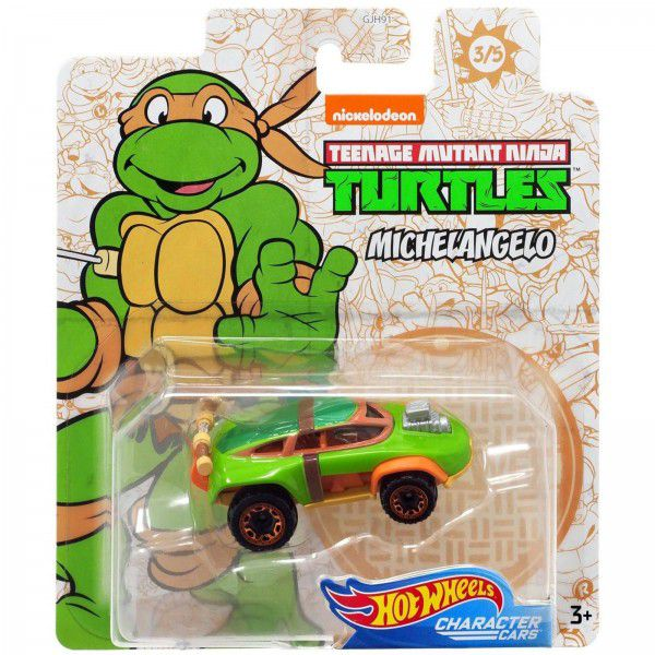 Carrinho Michelangelo: Tartarugas Ninja (Teenage Mutant Ninja Turtles) GJJ05 - Hot Wheels