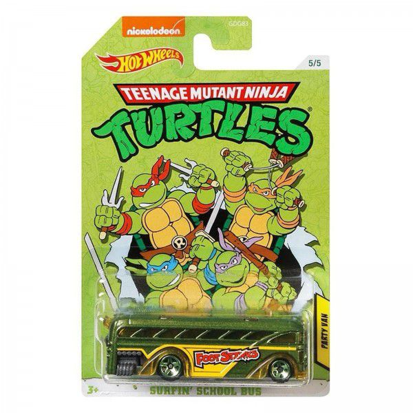 Carrinho Party Van (Surfin' School Bus): Tartarugas Ninja (Teenage Mutant Ninja Turtles) - Hot Wheels