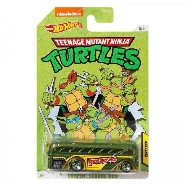 Carrinho Party Van (Surfin' School Bus): Tartarugas Ninja (Teenage Mutant Ninja Turtles) - Hot Wheels