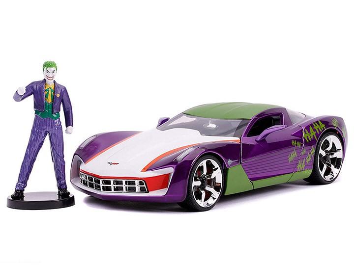 Carro Com Boneco Coringa (Joker) & 2009 Chevy Corvette Stingray: DC Comics (Die Cast Figure) Escala 1/24 - Jada Toys