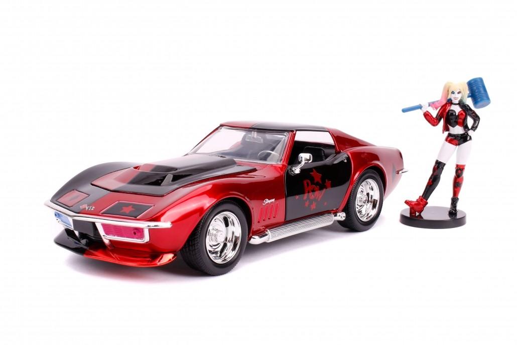 Carro Com Boneco Harley Quinn & Chevy Corvette Stingray: DC Comics (Die Cast Figure) Escala 1/24 - Jada Toys