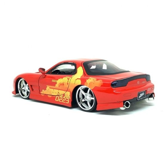 Carro JLS Mazda RX-7 Laranja: Velozes e Furiosos (Die Cast Figure) Escala 1/24 - Jada Toys