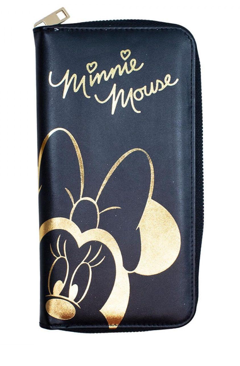 Carteira Minnie Mouse Disney Preto e Dourado