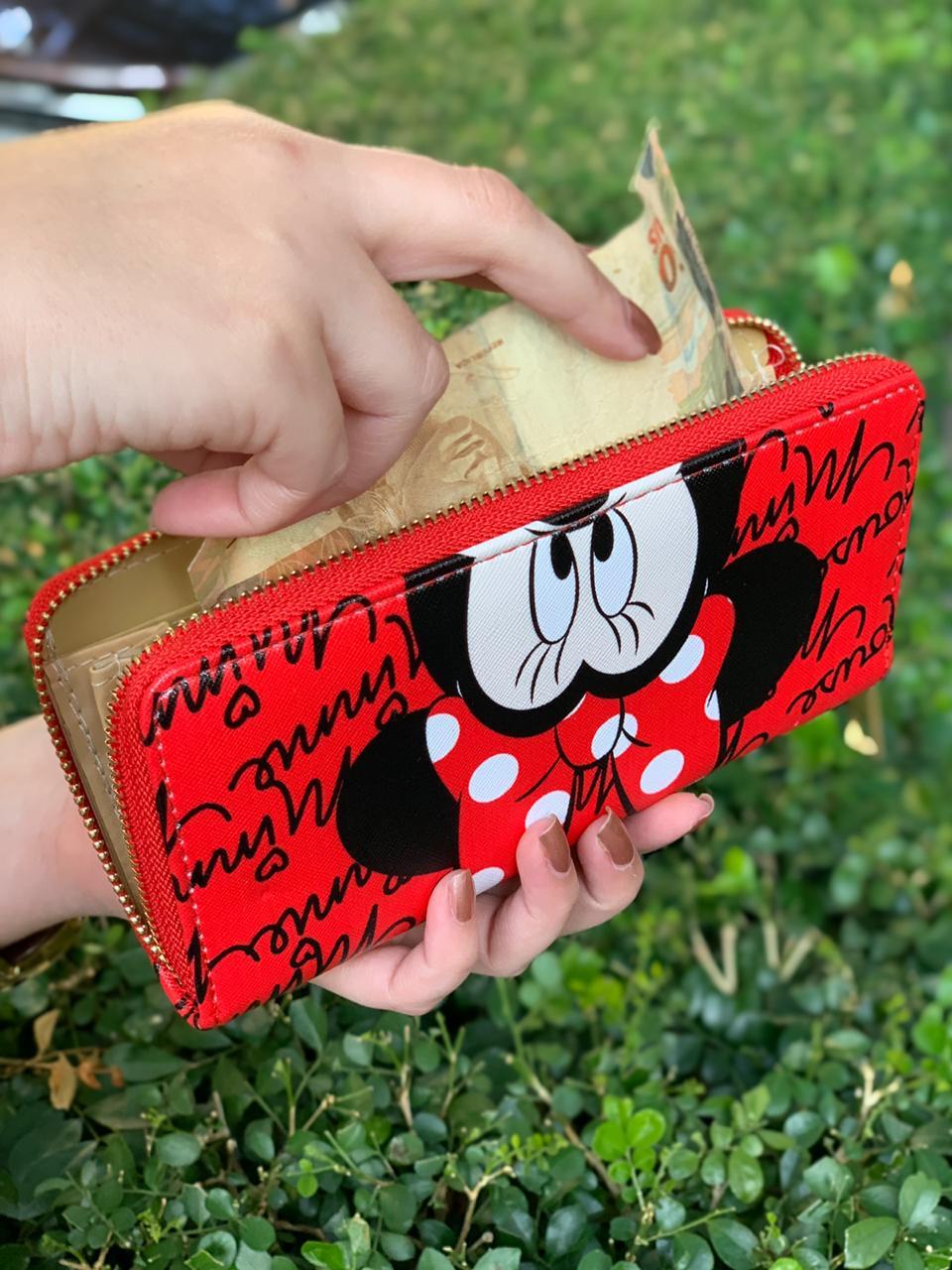 Carteira Minnie Mouse: Mickey e Minnie Mouse - Disney (Vermelha)