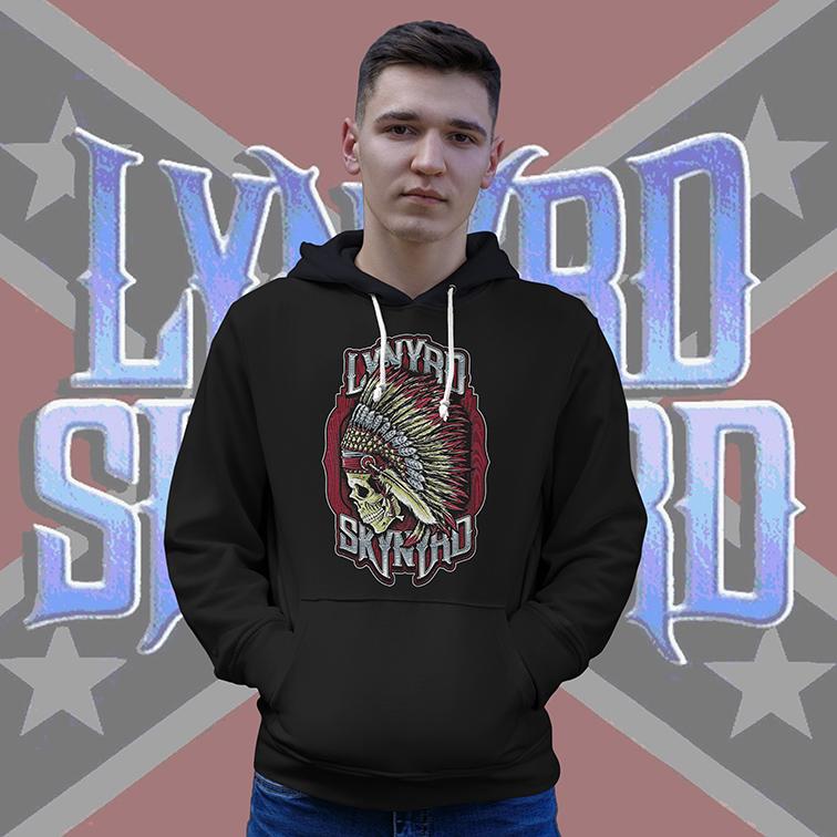 Casaco Moletom Canguru Lynyrd Skynyrd American Rock Band Skull (Preto) - EV